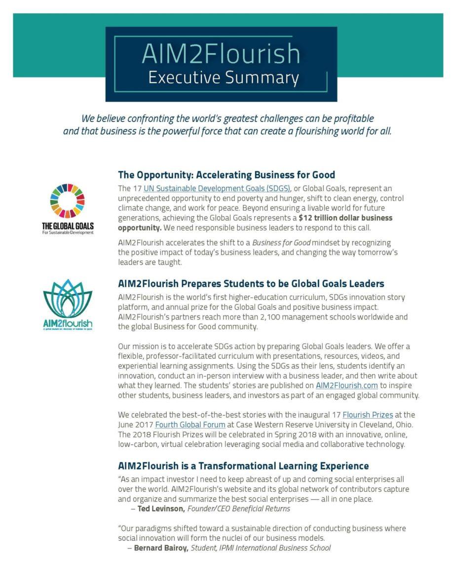 AIM2Flourish Executive Summary